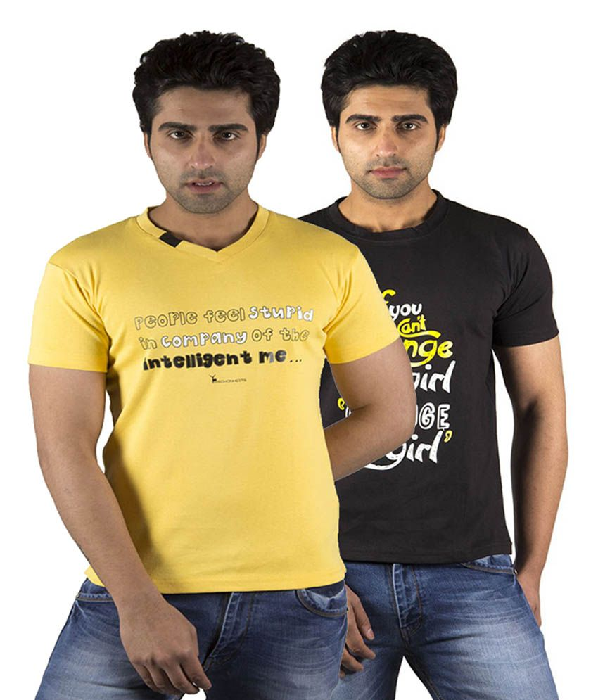 Schonheits Black & Yellow Cotton Blend Stylish Half Sleeves T-Shirts (Pack of 2)