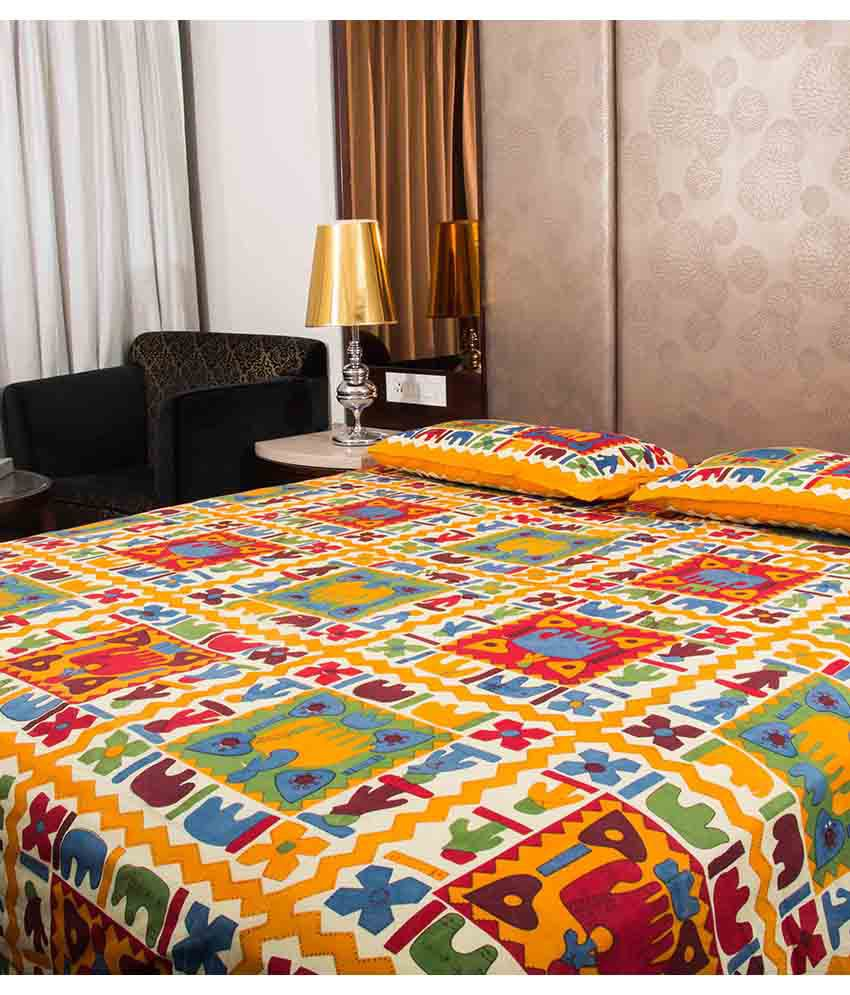 Kismat Collection 100% Cotton Jaipuri UniqStyliner King Size Double BedSheet