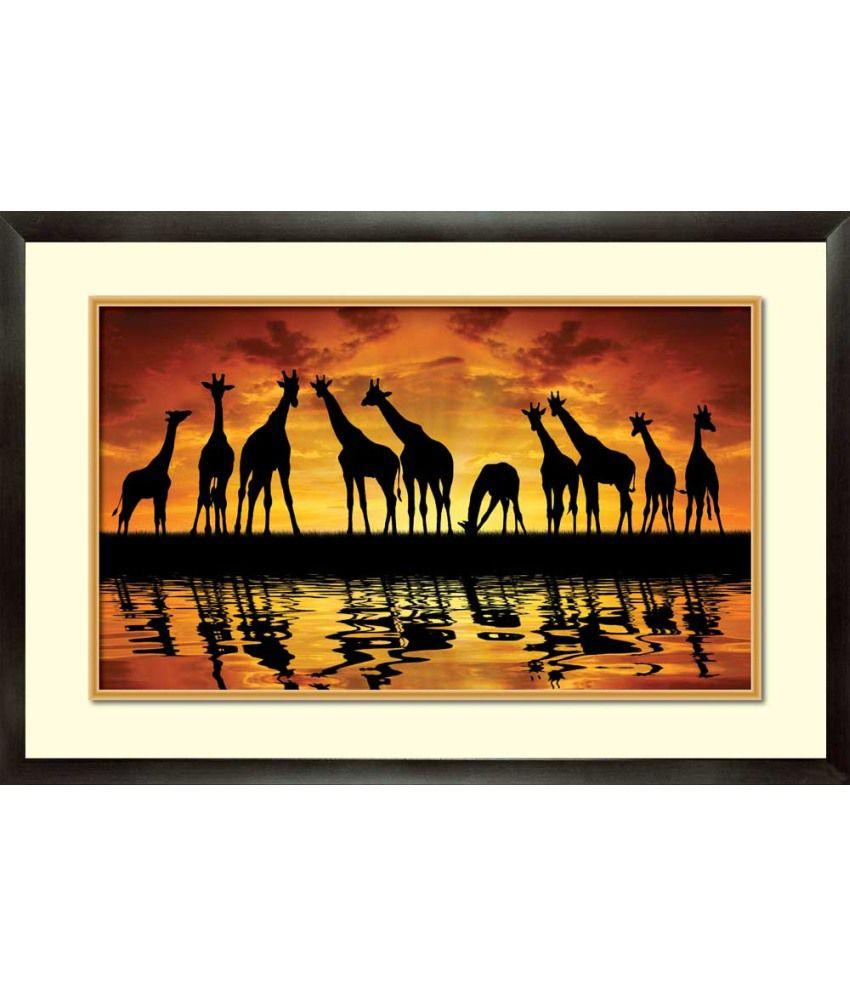 Mataye Graphics Giraffe Designer Painting With Frame