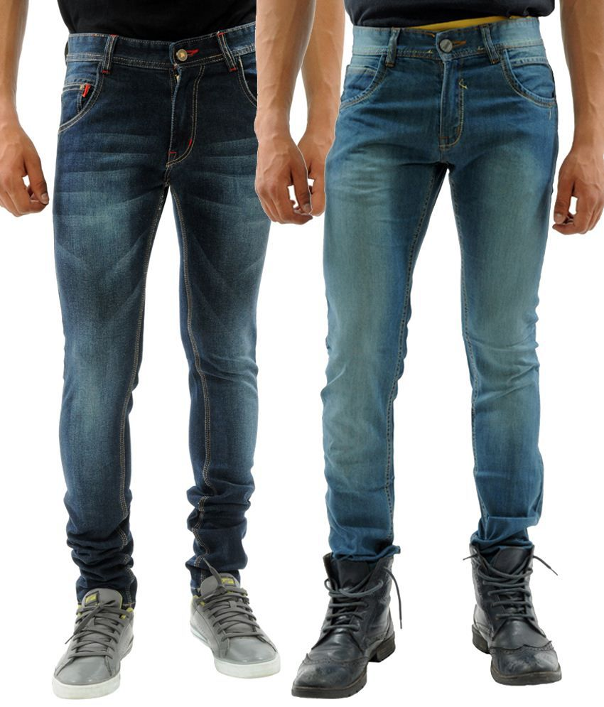 Sny Hind Outfitters Appealing Combo of 2 Blue Slim Fit Jeans for Men