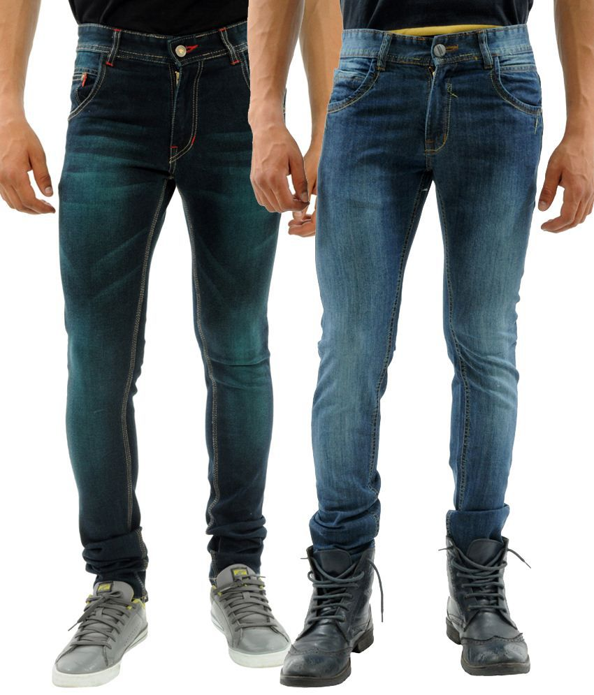 Sny Hind Outfitters Astounding Combo of 2 Blue Slim Fit Jeans for Men