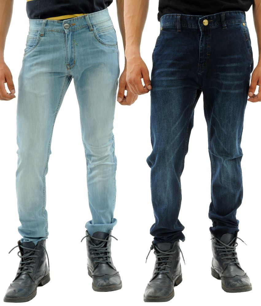 Sny Hind Outfitters Combo of 2 Blue Slim Fit Jeans for Men