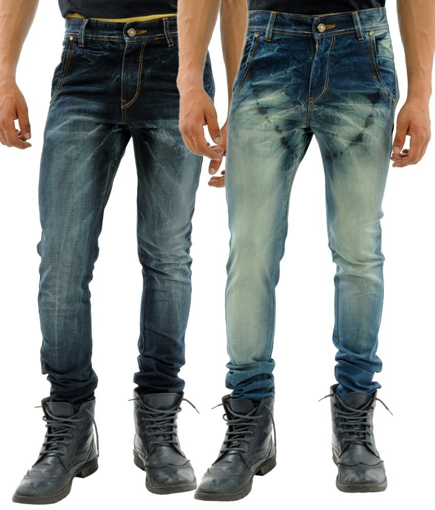 Sny Hind Outfitters Fine Combo of 2 Blue Slim Fit Jeans for Men