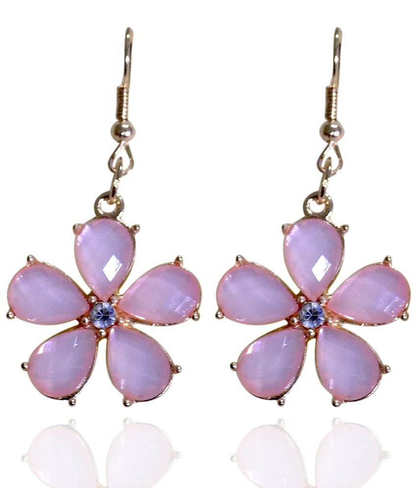 Optionsz Pink Alloy Hanging Earrings