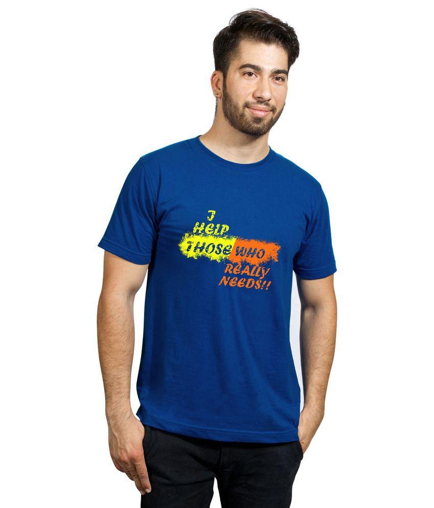 Phashion Town Blue Printed Round Neck T-Shirt