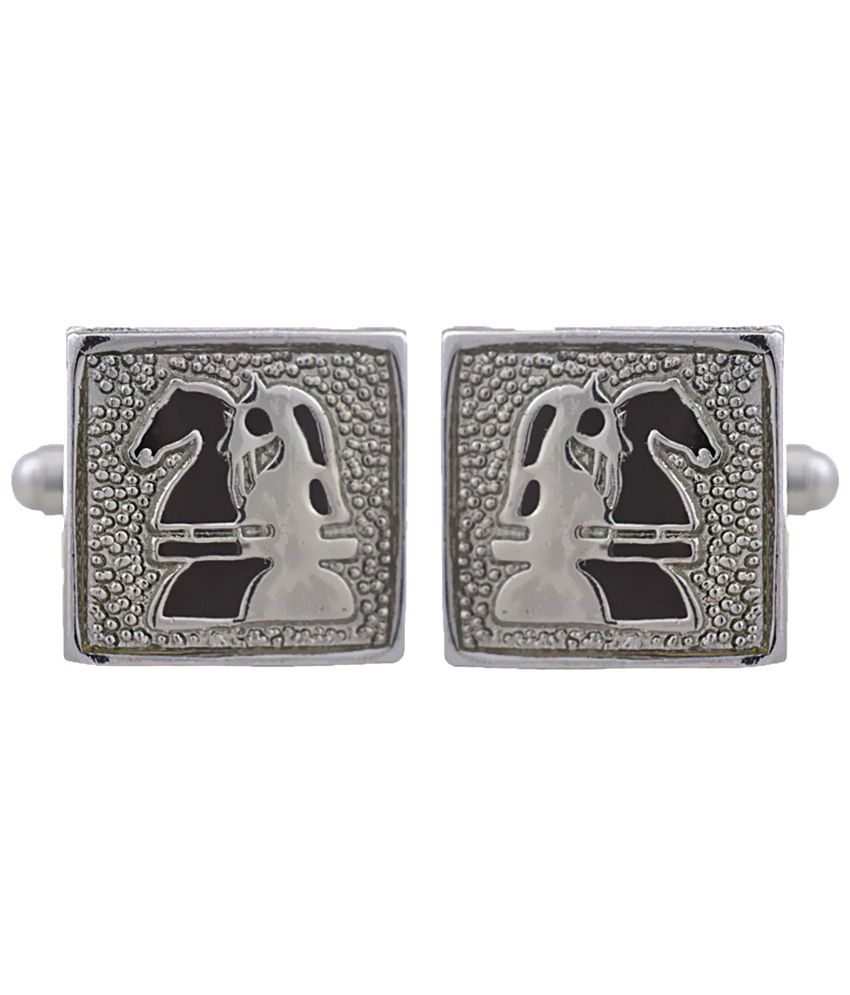 Tripin Silver & Black Square Shaped Cufflinks for Men