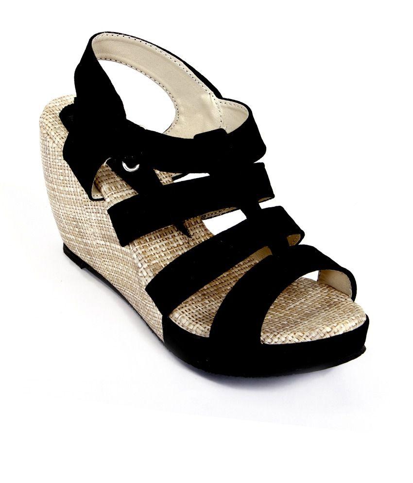cb8aa9c0d601 Harsh Foot Wear Black Platforms Heels Price in India- Buy Harsh Foot ...