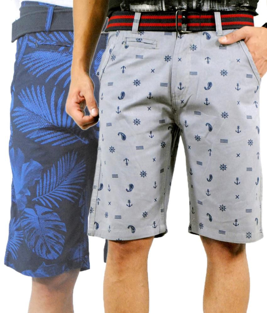 Noir and Shades Trendy Pack of 2 Blue & Gray Bermuda Shorts for Men