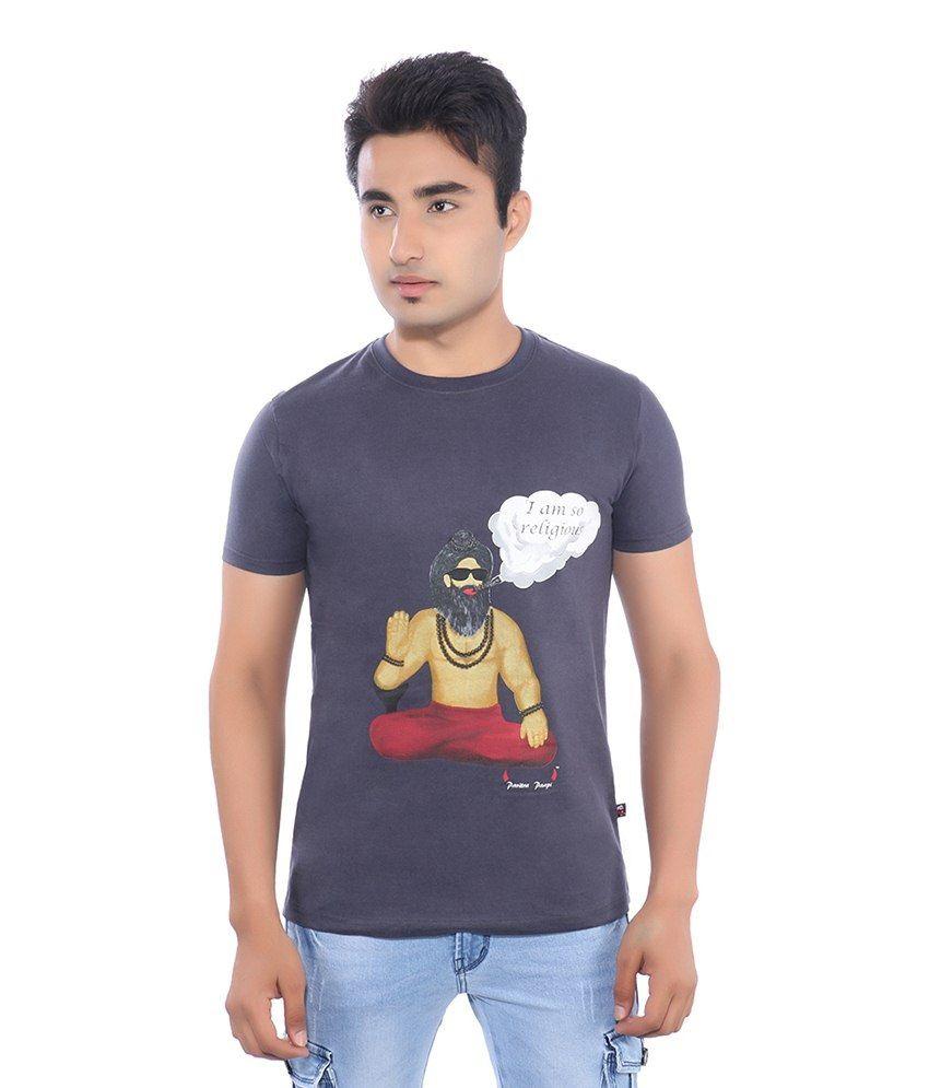 Pavitra Paapi Blue Cotton T Shirt