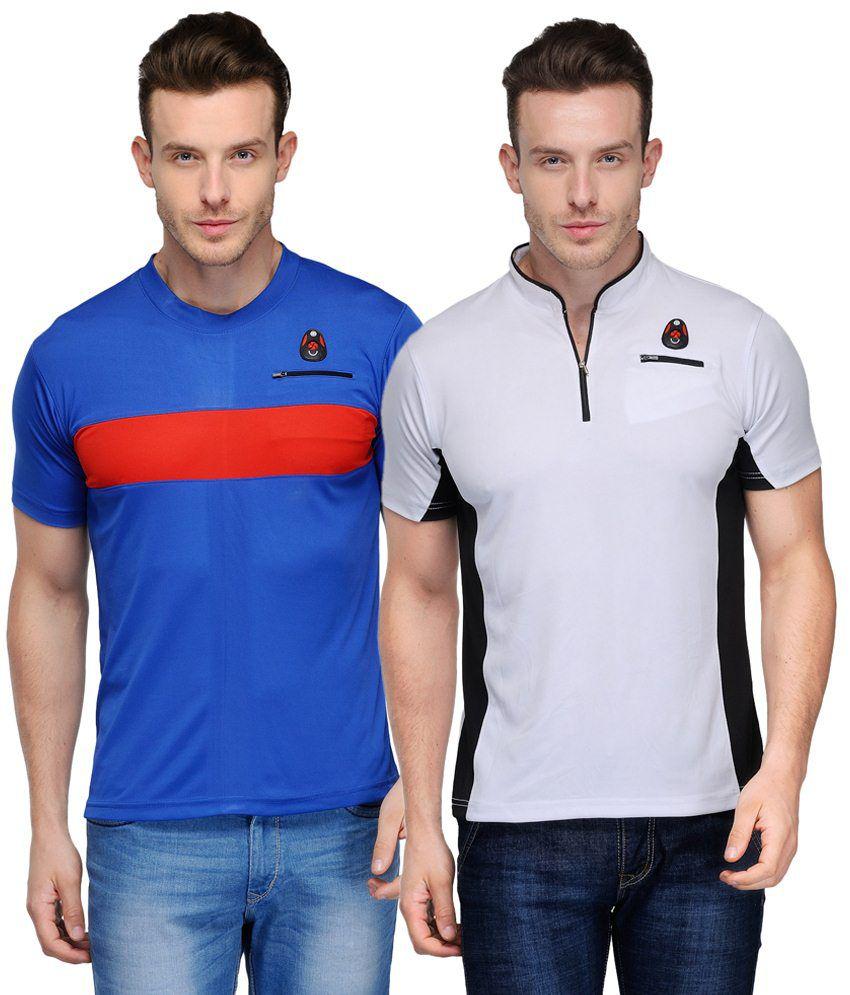 Scott Crackle Sulphur Dryfit Pack of 2 Blue & White Half Sleeve T Shirts for Men