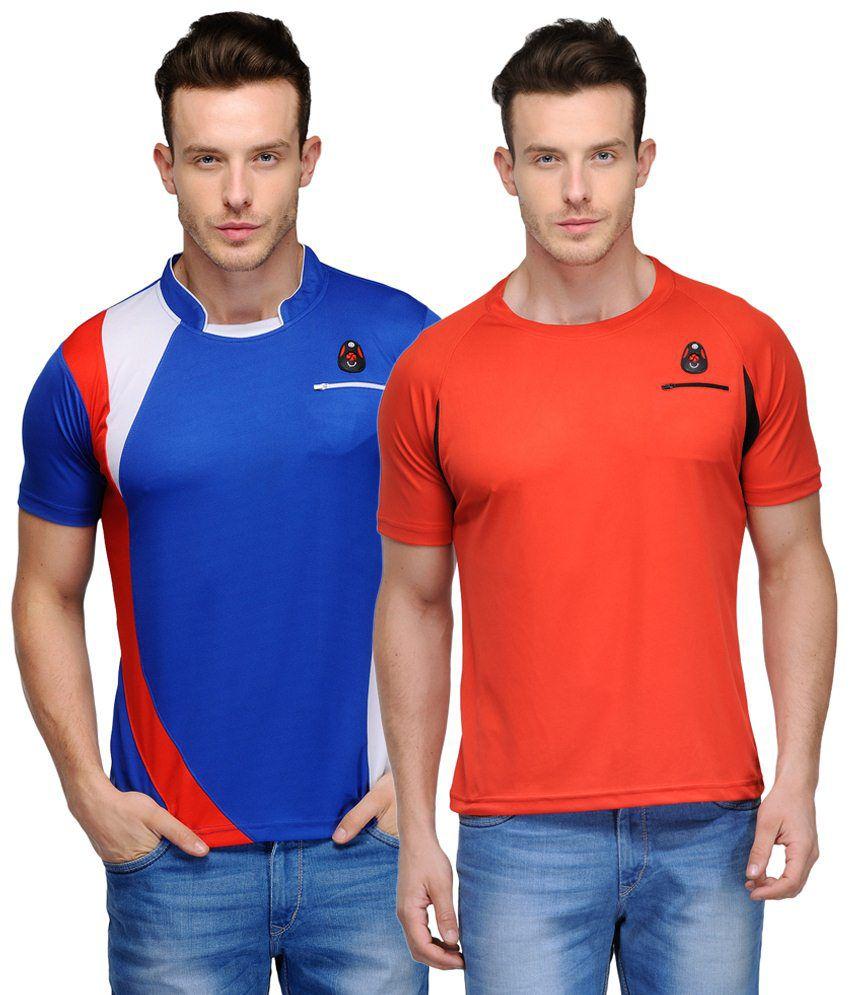 Scott Crackle Sulphur Dryfit Pack of 2 Orange & Blue Half Sleeve T Shirts for Men