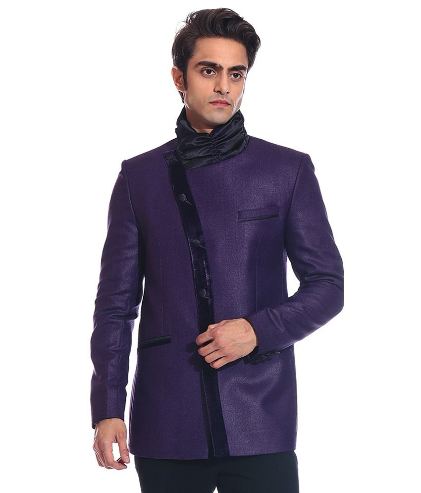 Tag 7 Purple Rayon Blazer For Men
