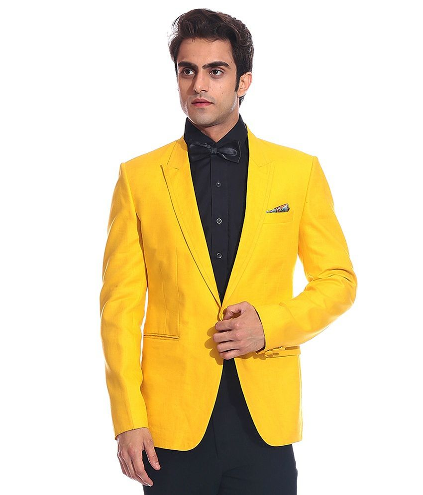 Tag 7 Yellow Linen Blazer For Men