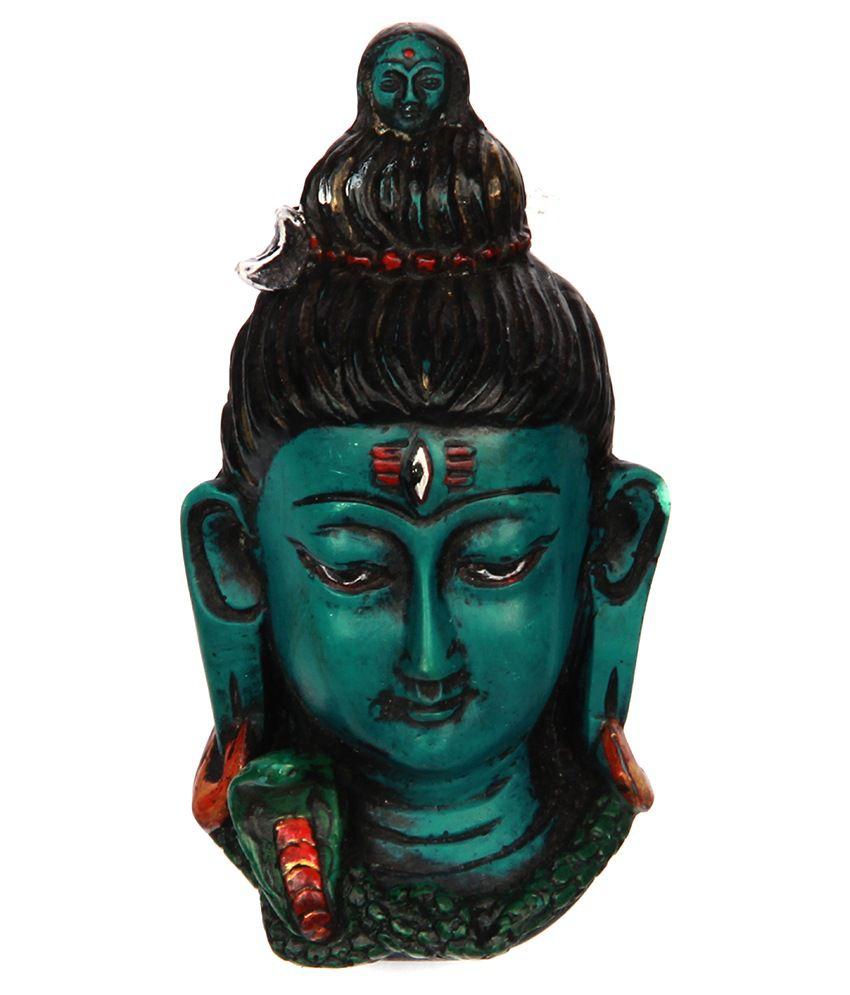 The Nodding Head Beautiful Lord Shiva Face Statue - Green