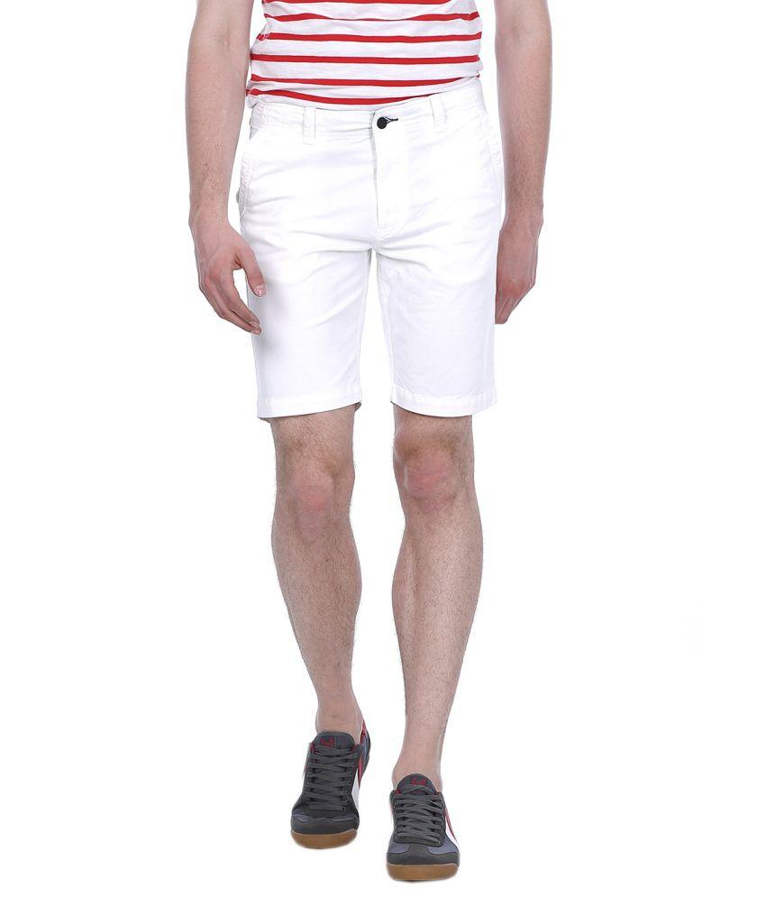 Basics White Cotton Blend Shorts