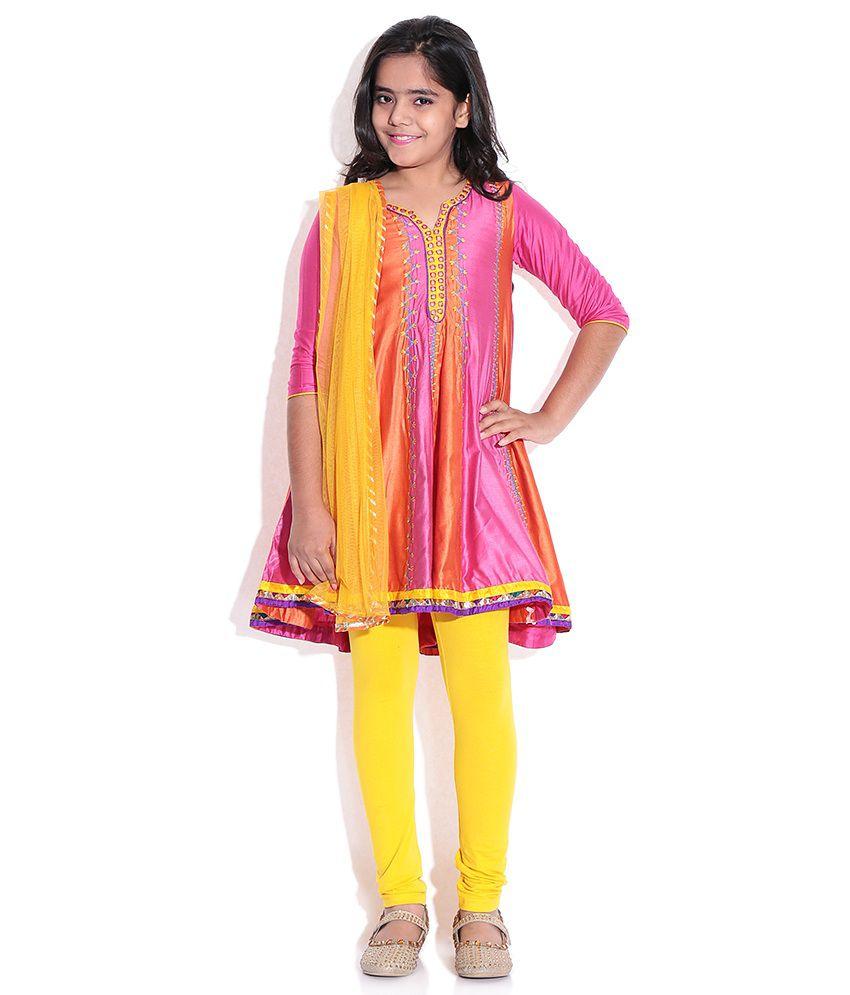 BIBA Pink/Orange Cotton Salwar Suit for Kids