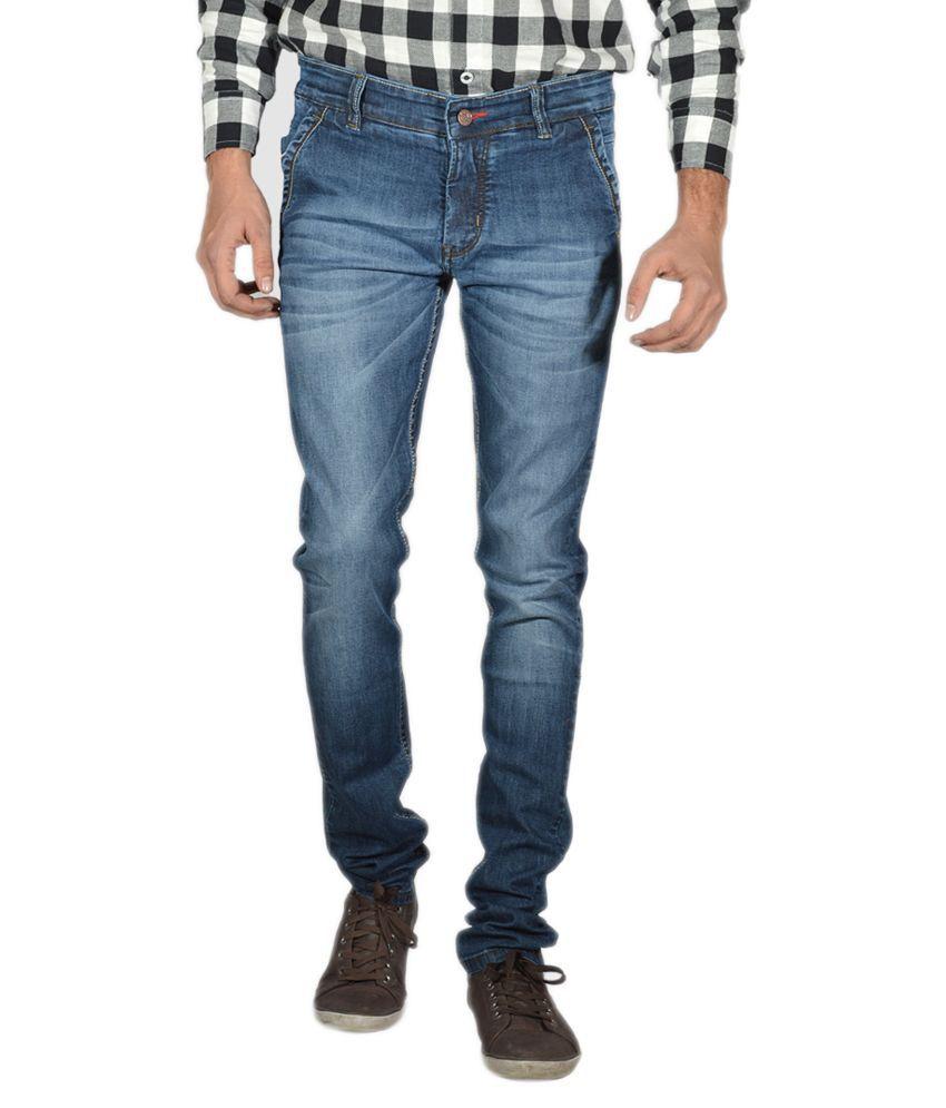 Mynte Basic Blue Cotton Blend Basics Slim Fit Jeans