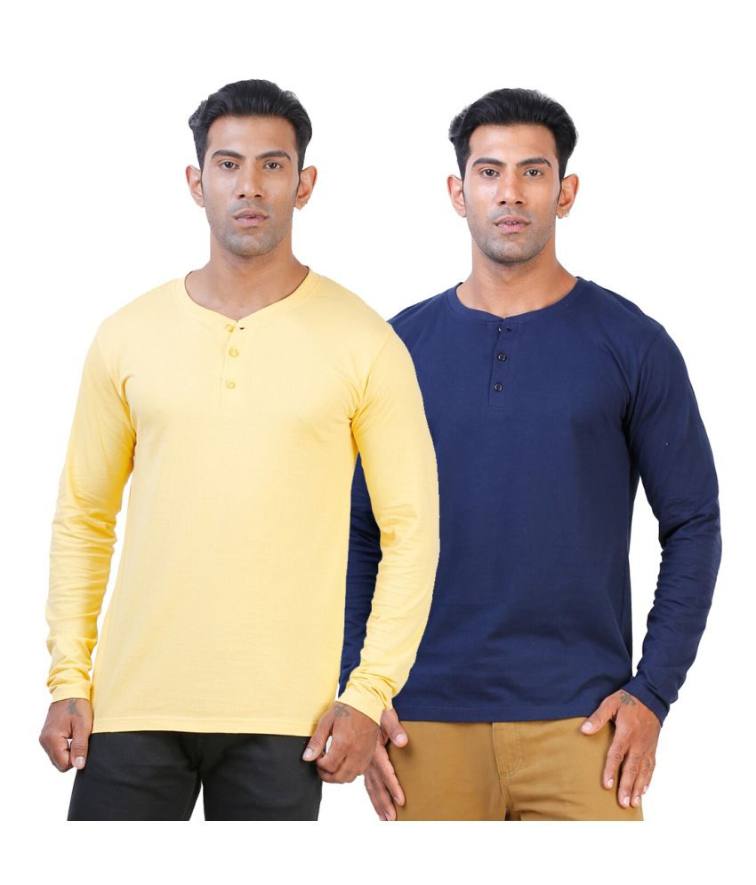 Street Junkies Golden Yellowand Navy Blue combo of 2 Henley T-Shirts