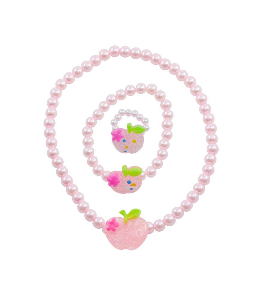 Angel Glitter Apple Of Mum's Eye Pink Pearl Necklace Set