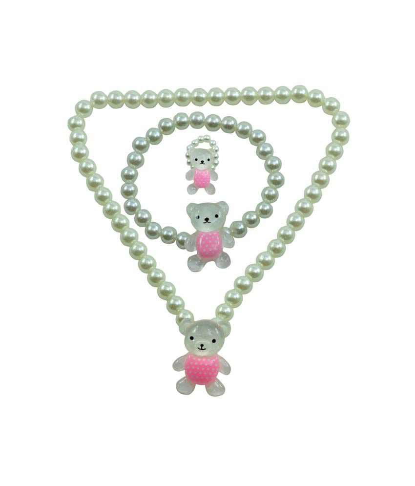 Angel Glitter Polka Pink Teddy White Pearl Necklace Set