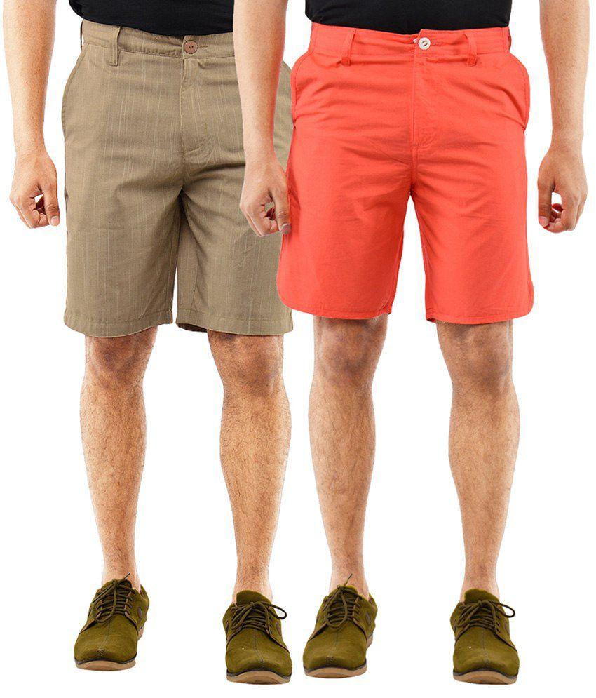 Blue Wave Cotton Brown & Orange Shorts- Pack of 2
