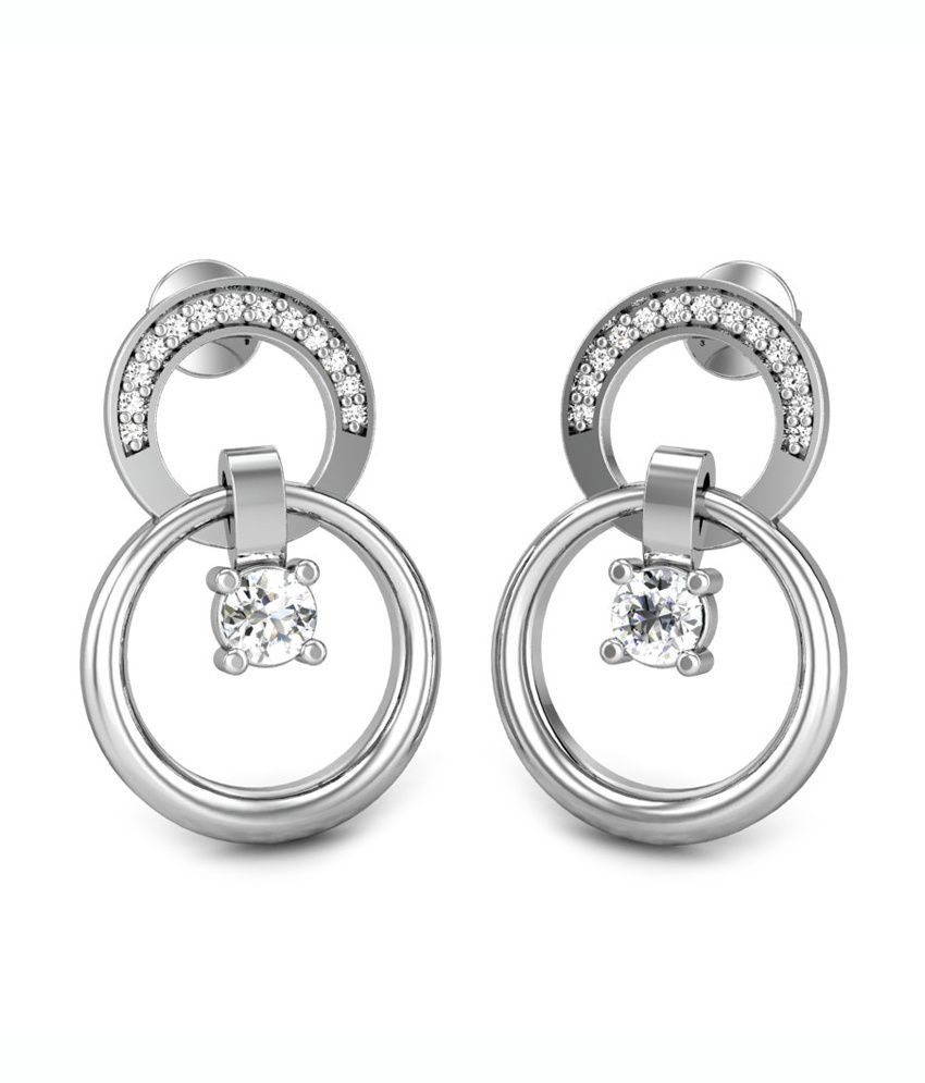 Candere Stamen Diamond Earring White Gold 18K