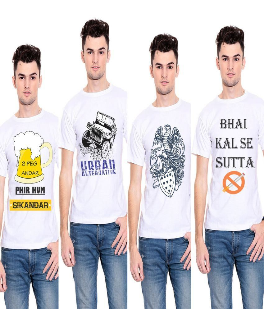 Indian By Thought White Printed Polyester T-Shirt