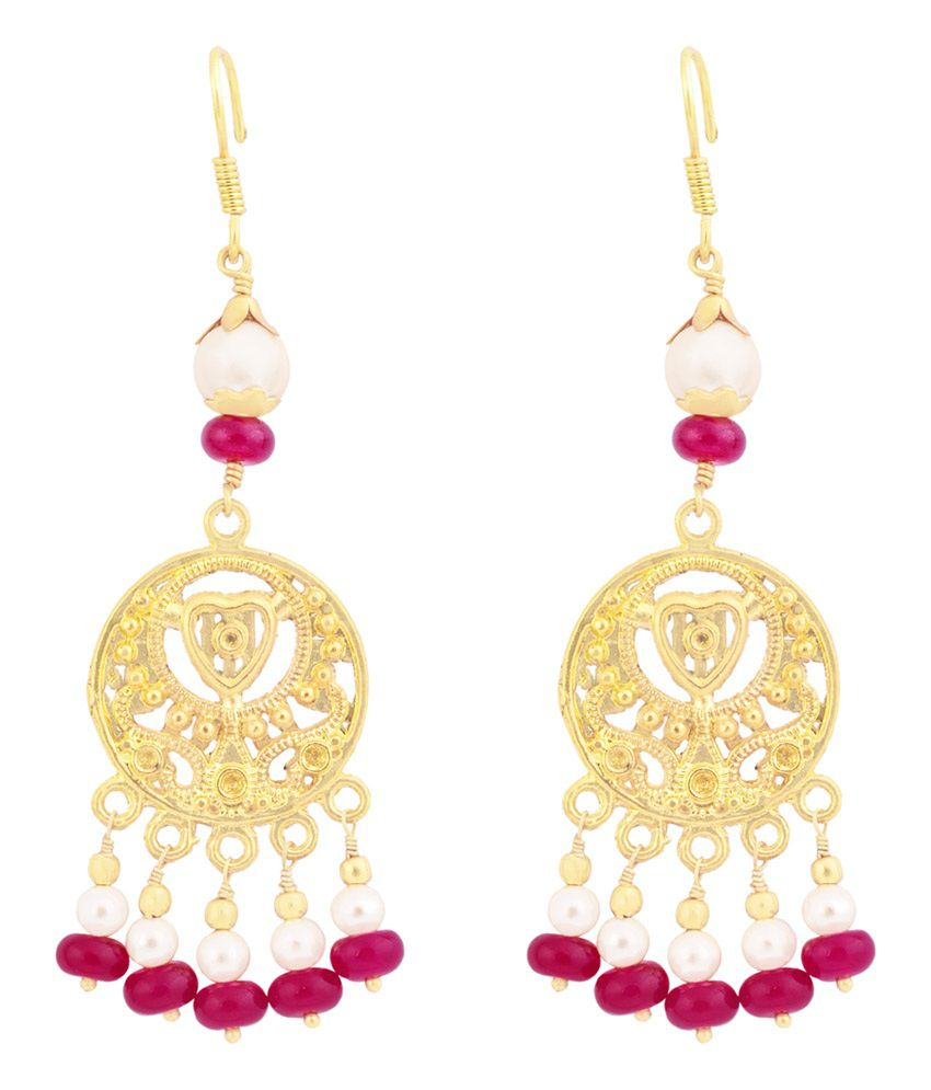 iJuels 8K Yellow Gold Plated Gemstone Drop Earring