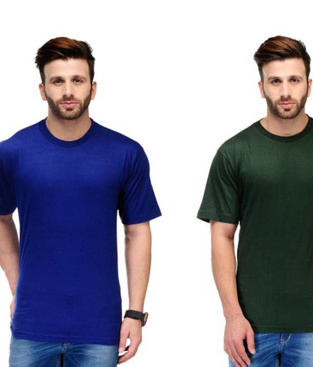 Ausy Multi Cotton Blend Round T-Shirt Combo Of 2