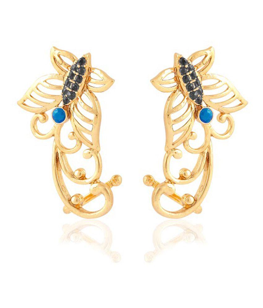 Cuzibox Antique Blue Brass Push Back Stud Earrings