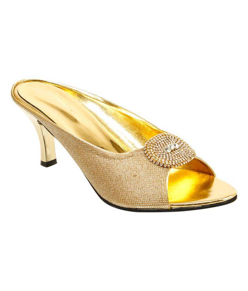 Trendz Deal Golden Heeled Sandals