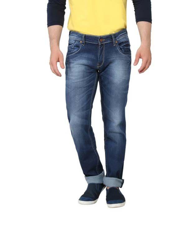 Ripfly Blue Cotton Blend Jeans For Men