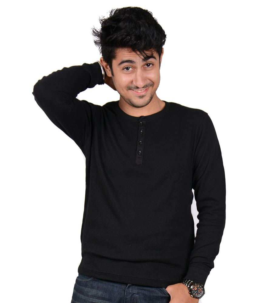 Labscraft Black Cotton Round Neck Full Sleeves T-shirt