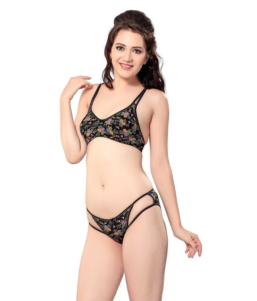 c26534c08a477 Buy Sunny Black Bra   Panty Sets Online at Best Prices in India - Snapdeal