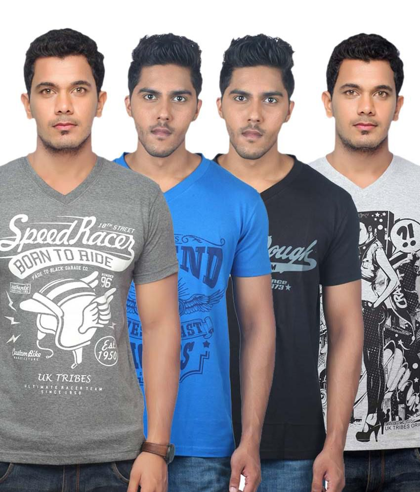 UK TRIBES Multicolour Cotton Half Sleeves V-Neck T-Shirt - Pack Of 4