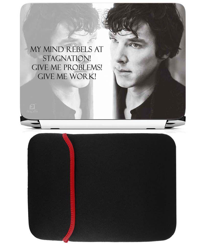 Anwesha's Reversible Laptop Sleeve With Laptop Skin - Sherlock