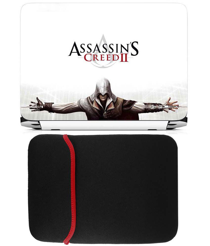 Anwesha's Reversible Laptop Sleeve With Laptop Skin - Assassins Creed Ii