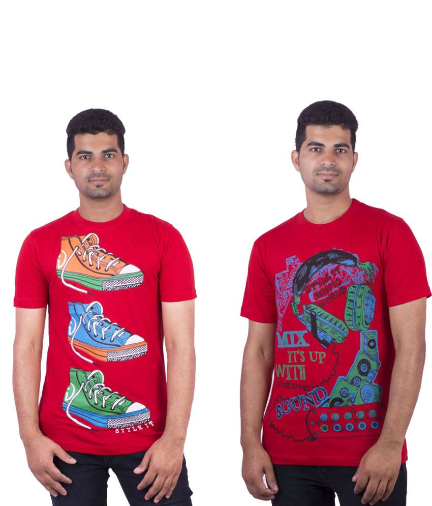 Dkclues Combo Of Red Cotton T-shirts