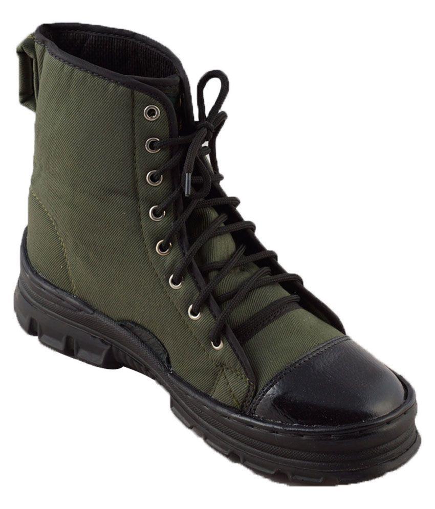 Adduce Green Canvas Warrior Jungle Boots