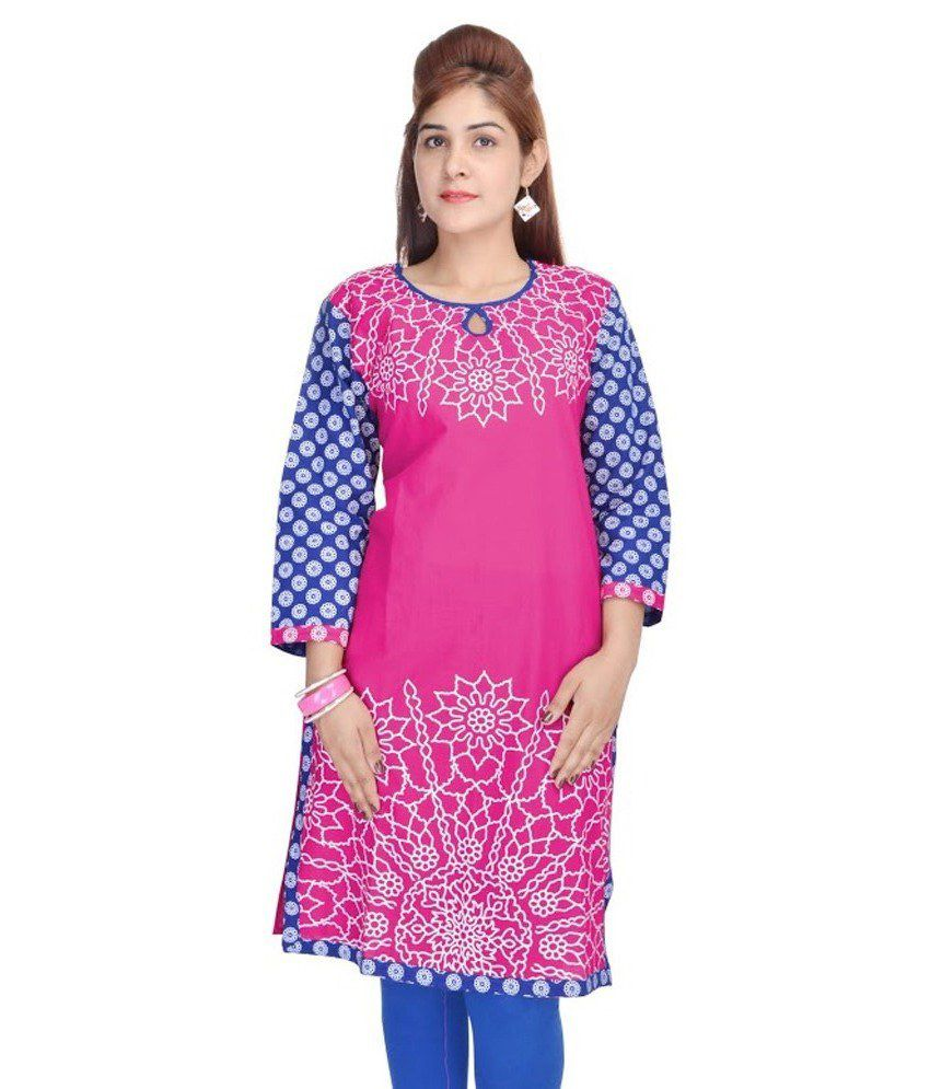 Dealz Pink Cotton Printed Designer Kurti