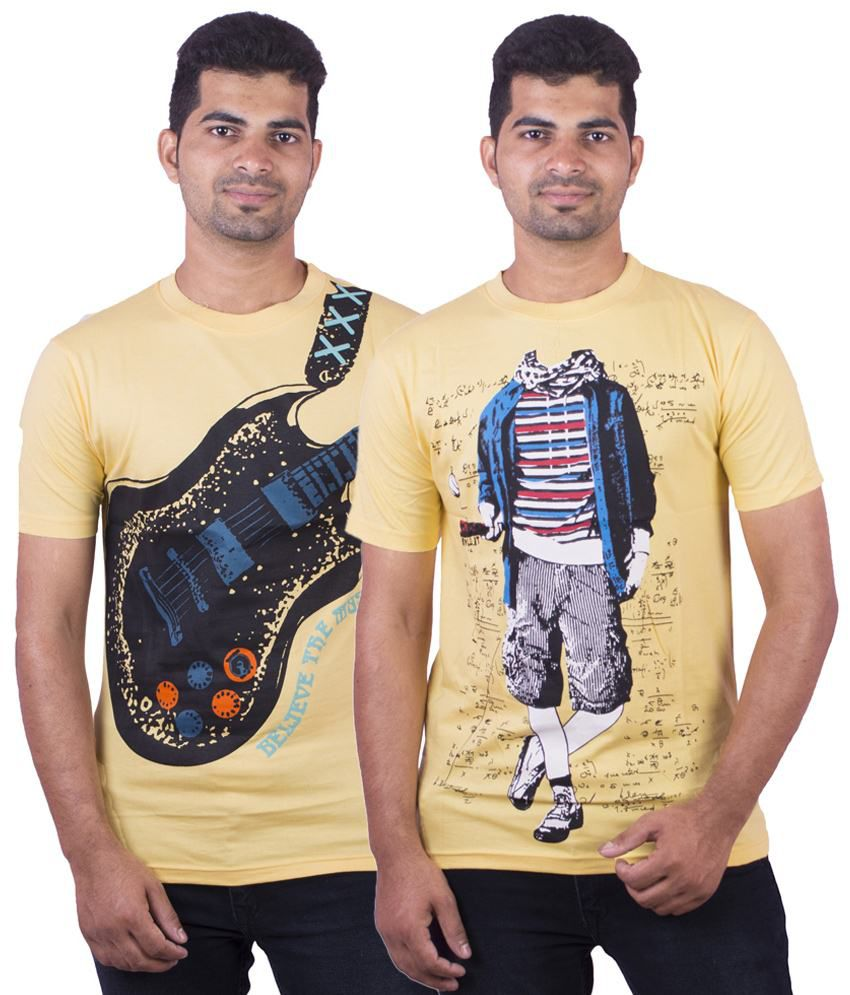 Dkclues Pack of 2 Yellow & Black Half Sleeve Graphic T Shirts for Men