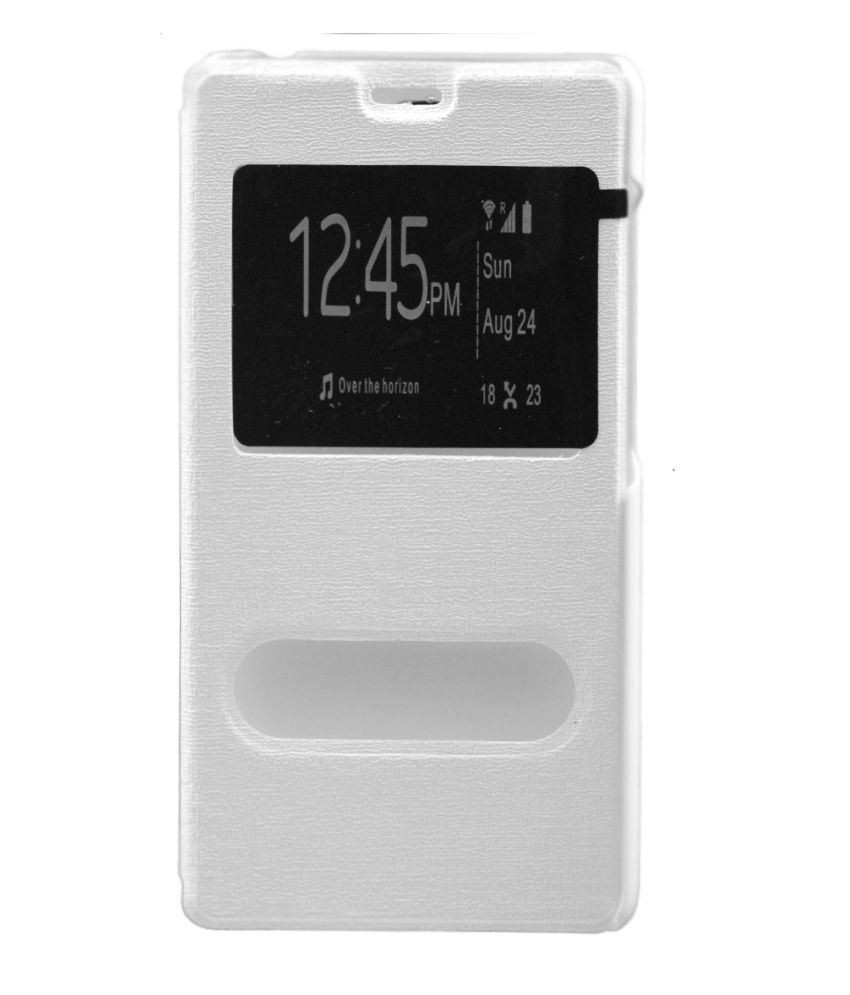 Gizmofreaks Synthetic Flip Flap Cover For Xiaomi Redmi Note 4g - White