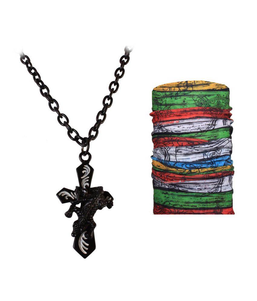 Jstarmart Designer Black Necklace Combo Bandana - Black