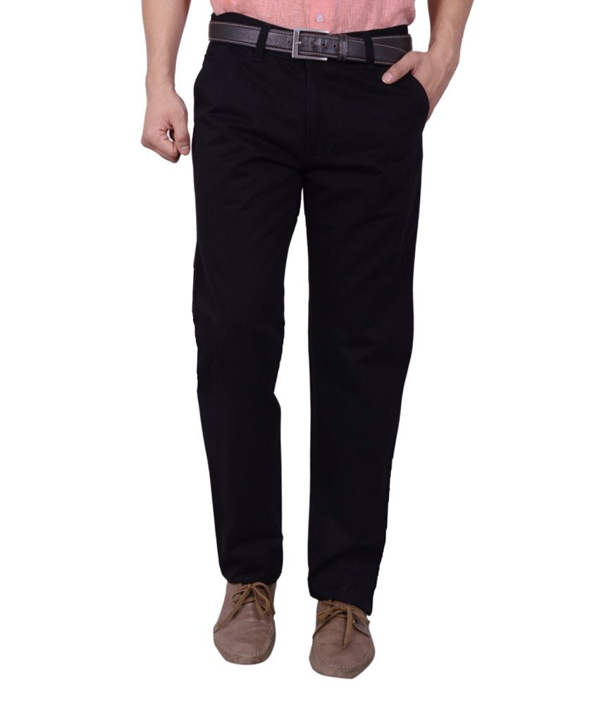 Studio Nexx Black Cotton Lycra Regular Fit Trouser For Men