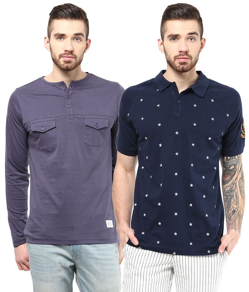 Atorse Classy Pack of 2 Purple & Navy Blue Full Sleeve T Shirts for Men