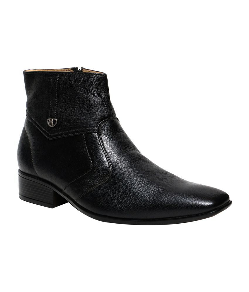 C Comfort Black Leather Formal Bootss