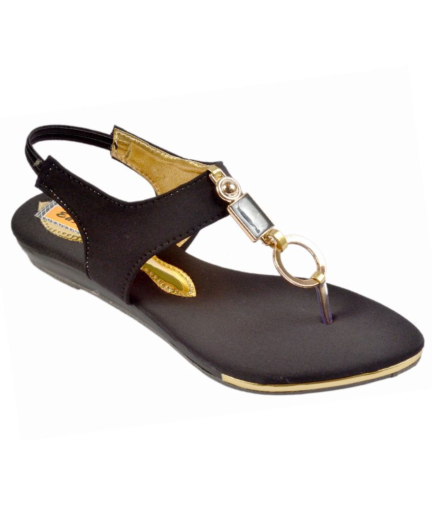 Easy Walk Black Satin Sandals