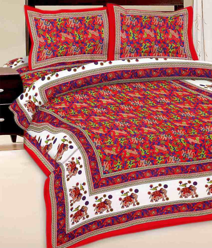 7a1562532d UniqChoice 100% Cotton Red Color Elephant Print Jaipuri Traditional 1 Double  Bed Sheet 2 Pillow Cover - Buy UniqChoice 100% Cotton Red Color Elephant  Print ...