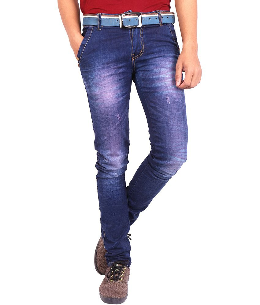 What'supp Blue Cotton Regular Fit Jeans