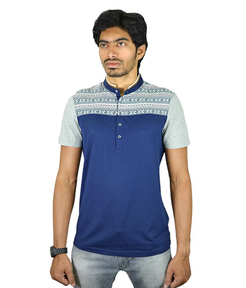 Chivas Blue Cotton Blend Printed Half Sleeves T-Shirt